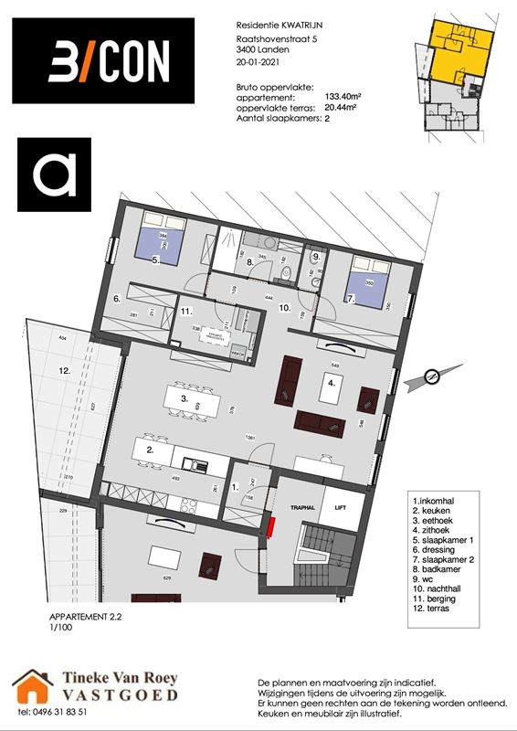Foto 6 : Penthouse te 3400 LANDEN (België) - Prijs € 328.416