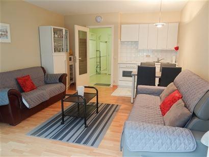 TE HUUR OP JAARBASIS - ruime studio - slaaphoek met stapelbed - living met divanbed 1x2 - ingerichte open keuken met frigo, oven en elektrisch fornuis...